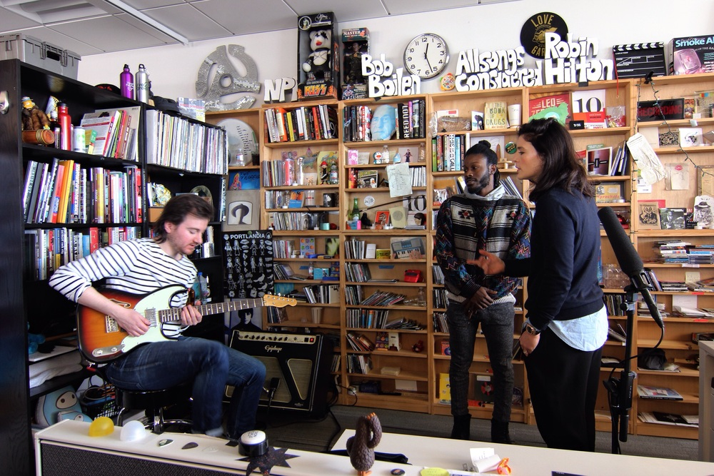 Jessie Ware (far right) sound checking before her Tiny Desk concert at NPR. Her acoustic rendition of Champagne Kisses was lovely.