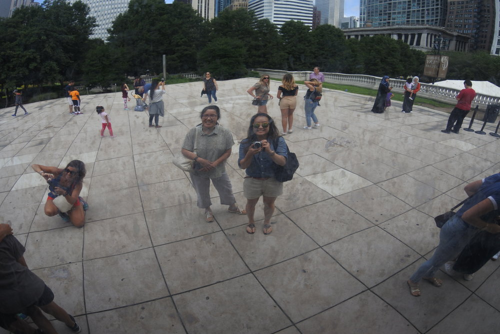 Mom and me at the Cloud Gate.