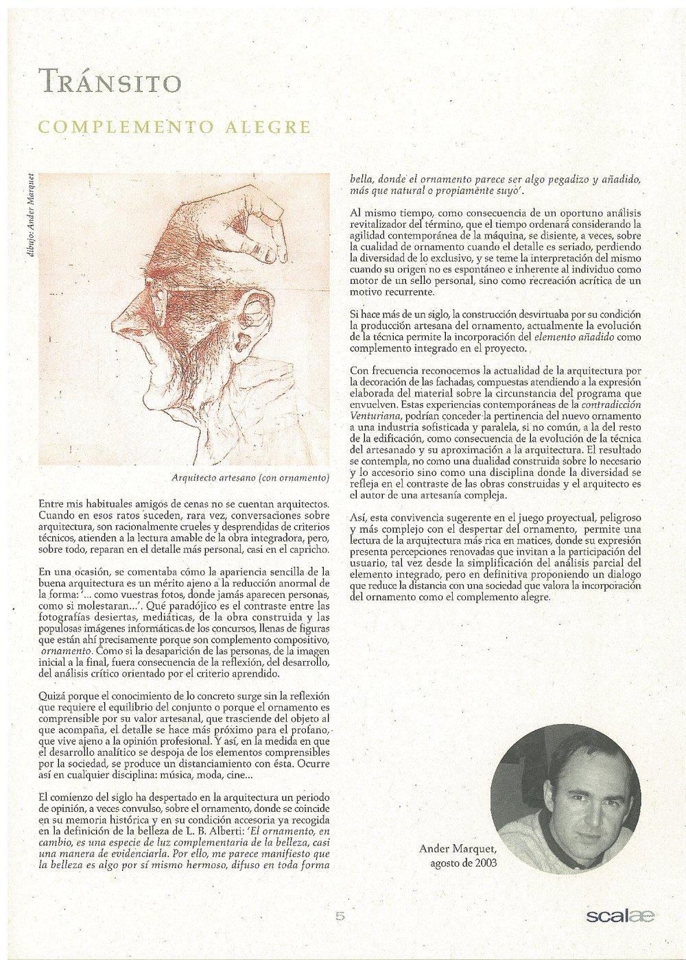 SCALAE - Carme Pinós - Tránsito. Complemento Alegre