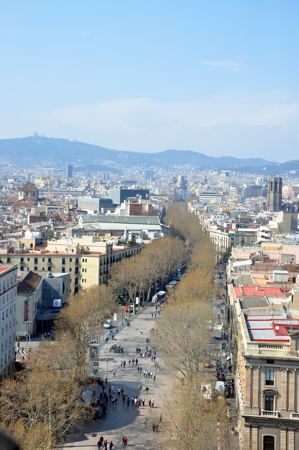 A view of La Rambla from the top of the Columbus Monument.