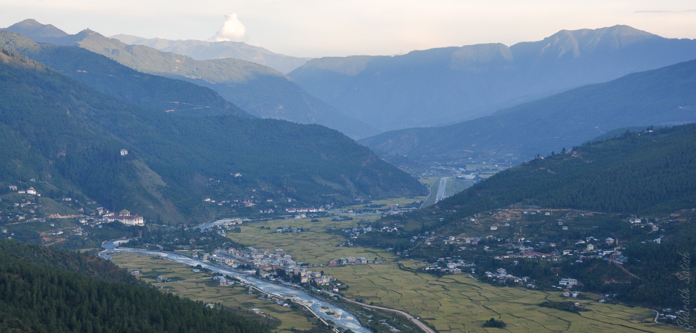 Paro Valley - Visible are Rinpung Dzong, the National Museum, the Airport and Paro city