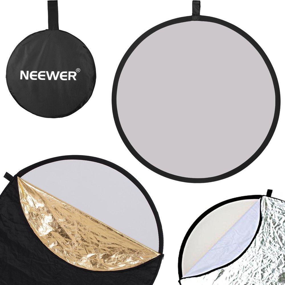 Neewer 80cm 5-in-1 Pannello riflettente - Rotondo Portatile Pieghevole (Trasclucido, Argento, Dorato, Bianco, Nero