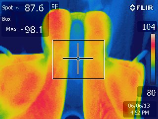 Infrared scan of the underside of an imbalanced dressage saddle. Areas with more pressure are darker red.