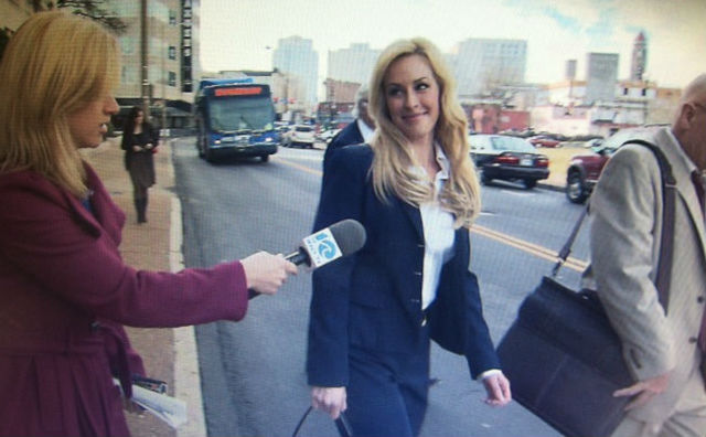 Julie Bickford leaving court yesterday