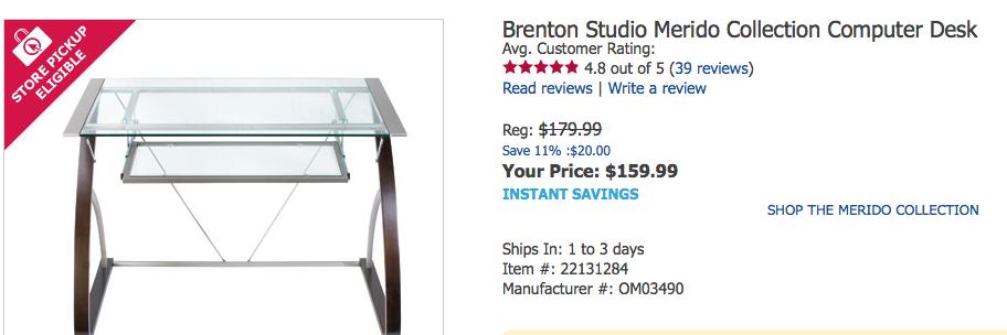 Merido Collection Computer Desk Owens Corning Pro Desk