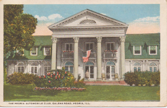 "This is a 1923 Postcard of what is now the Shore Acres Clubhouse. It was originally called, ""The Peoria Automobile Club."""