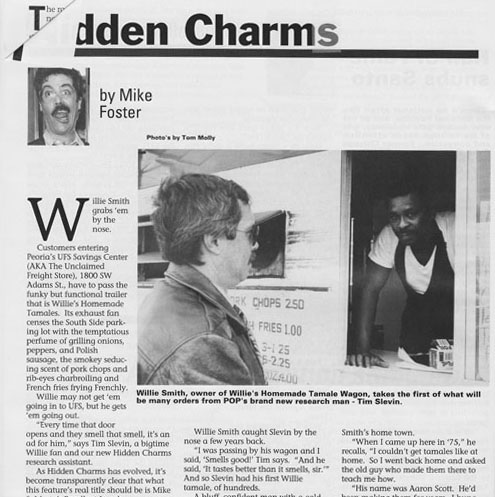 Tim was a recurring character in POP magazine, here he is doing research at Willie's Tamale Wagon for Mike Foster's Hidden Charm's column.
