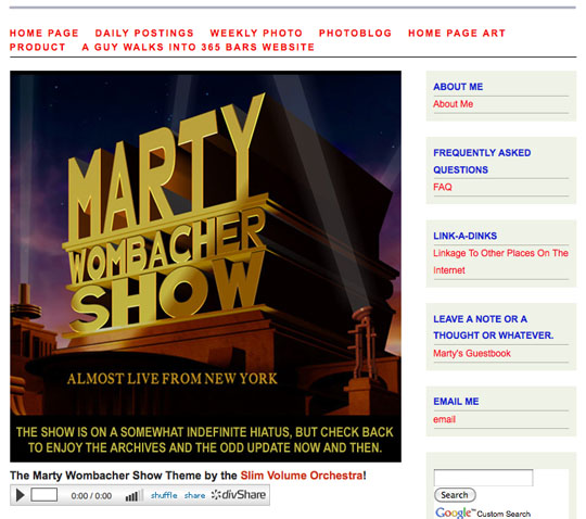 "The final Marty Wombacher Show Homepage complete with artwork from ""Boris"" Boden."