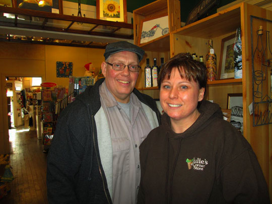 julie with her husband Mike, in addition to Julie's store, they also own and recently opened up  The Coffee Hub  across the street. Mike manages that shop.