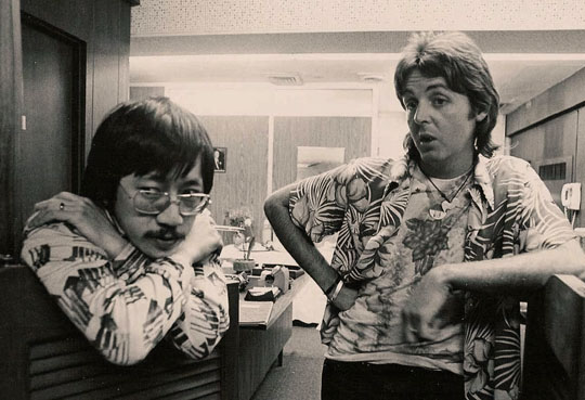 Ben Fong-Torres with Paul McCartney in 1976.