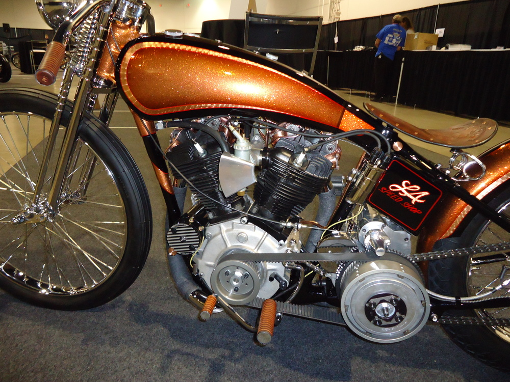 Chris hand-made the dual gas tanks & springer front end