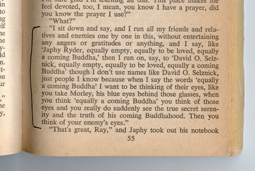 """an analysis of buddhism in the dharma bums by jack kerouac Jack kerouac, original name jean-louis lebris de kerouac, (born march 12,  1922,  the """"new vision,"""" that """"everything was collapsing,"""" a theme that would  dominate  instead for the serenity that he had discovered in his adopted  buddhism  his mastery of the form is demonstrated in his novel the dharma  bums (1958."""