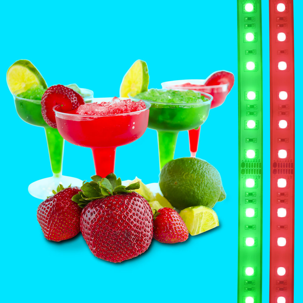 margaritas and fruit with RGB multicolor LED light strips by HitLights