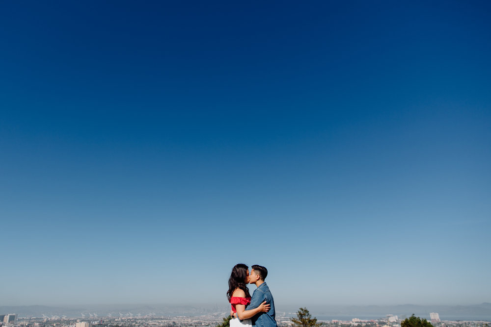 A romantic engagement shoot over waffles in Oakland, California.