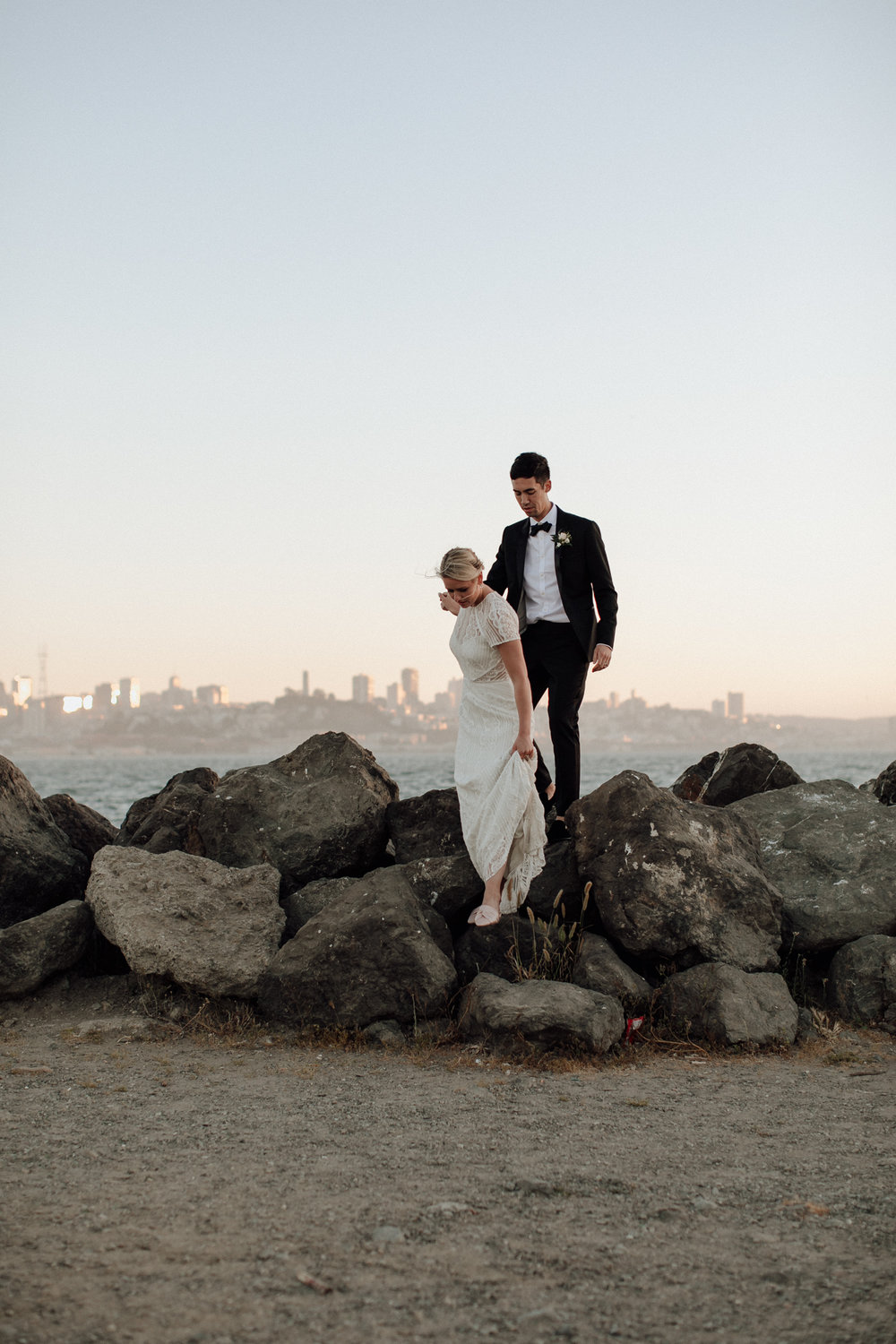 Treasure Island Wedding Portraits San Francisco View