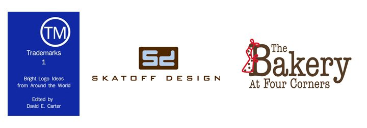 "Left: ""Trademarks 1"" eBook cover   Center: Skatoff Design logo  Right: The Bakery At Four Corners logo"