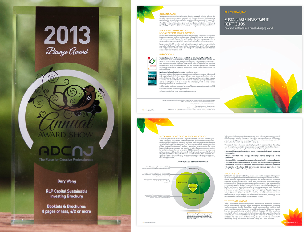 "RLP Capital's Sustainable Investing Brochure takes a Bronze in the category of ""Booklet & Brochures: 8 pages or less, 4/c or more"""