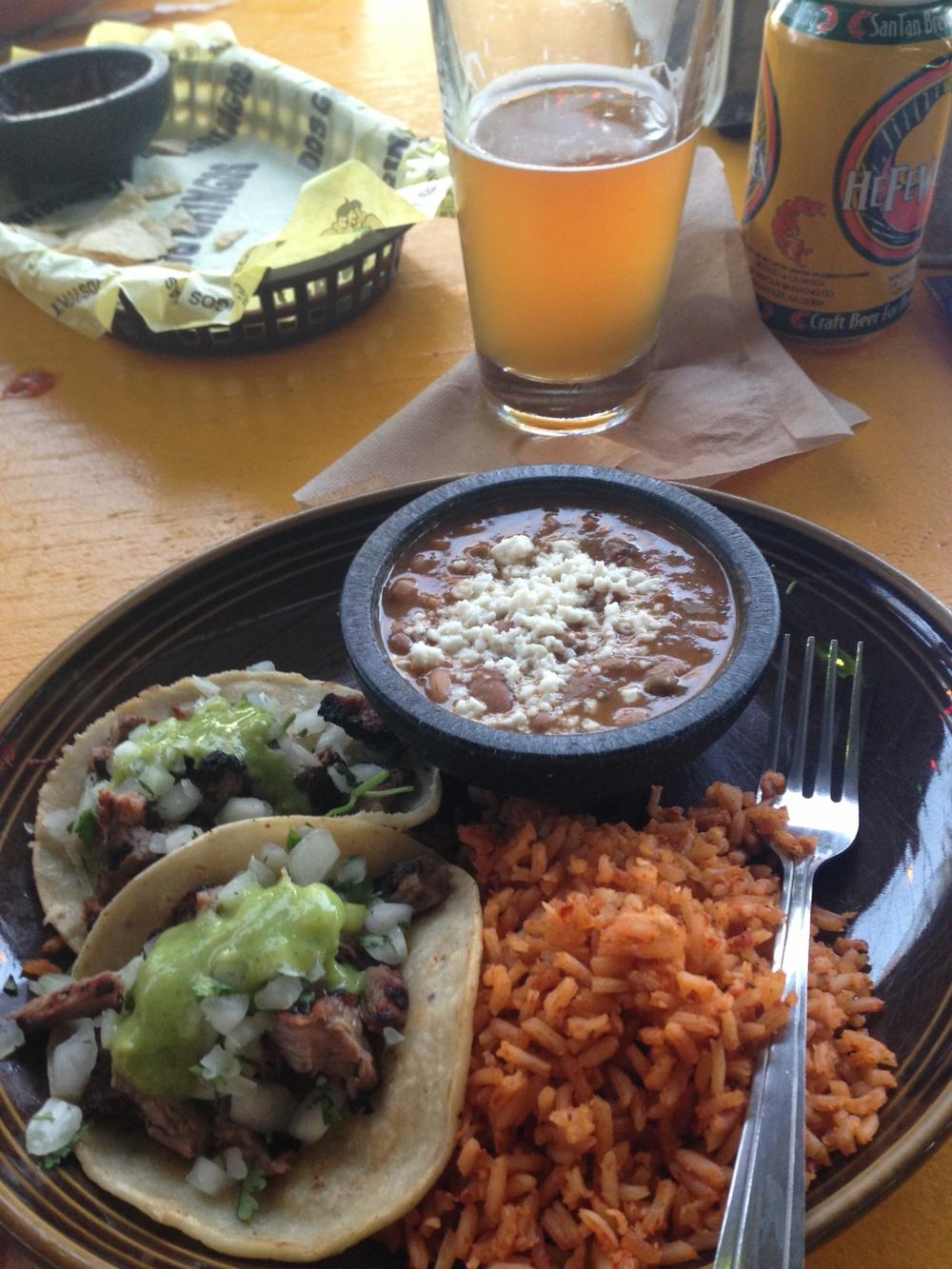 Steak tacos and hefeweizen