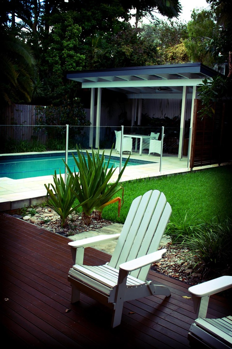 Paddington, Brisbane Pool and structural elements amongst lush gardens.Read more...