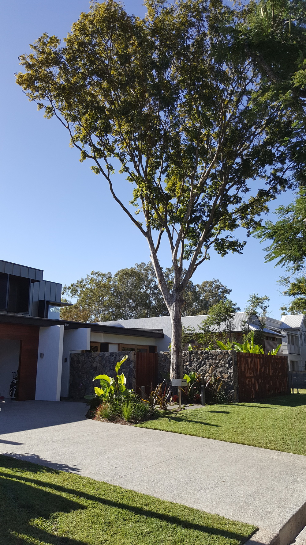 Chelmer, QLD Contemporary landscape design for architecturally designed home on the Brisbane River. Read more...