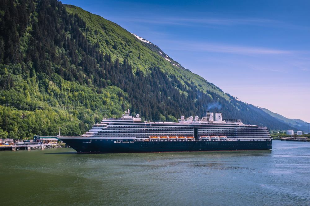 MS Westerdam sailing into Juneau, Alaska.