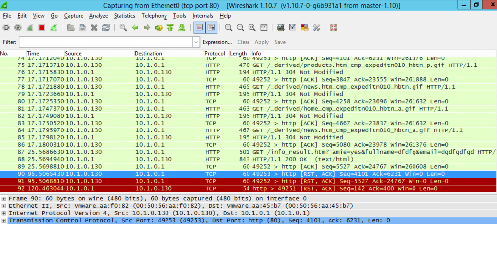 We once again set up Wireshark to record, and go to or client to do some browsing. After having spun up some network traffic on the client, we return to the rogue and find Ettercap having successfully sniffed and replaced original IP's and macs.