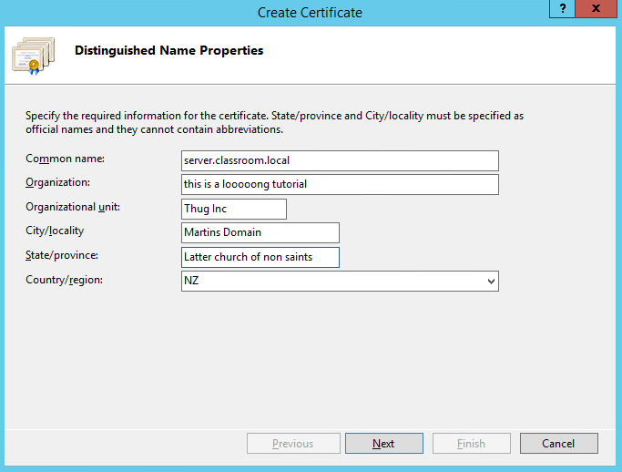 adding a certificate and setting up a website