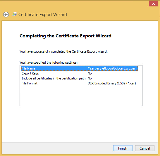 I'm then instructed to export this certificate for later use