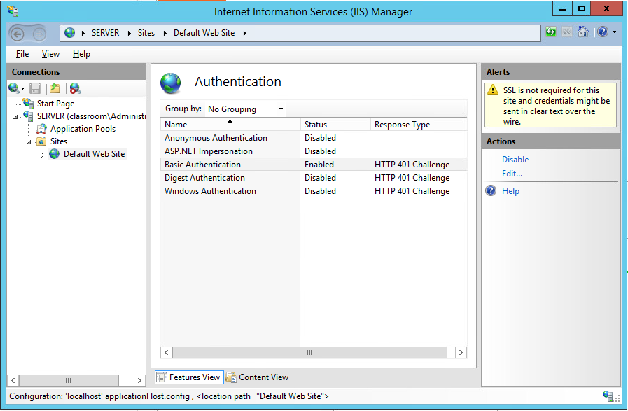 In the server manager, we disable anonymous authentication and enable basic authentication (plain text).