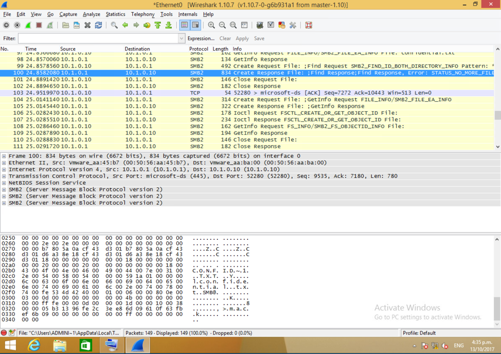 On the client, I start wireshark capturing and access the folder through run \\server\secret$. I can see the name confidential popping up after having opened the file