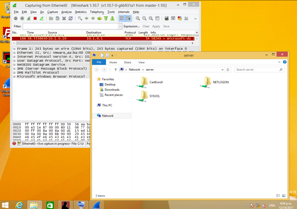 Accessing the secret$ folder while Wireshark is sniffing in the background