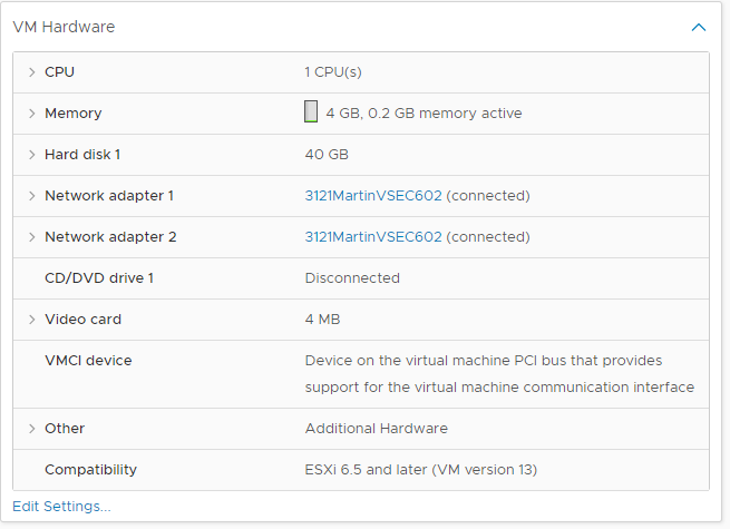 The first exercise tells me to install a second virtual networking card to use as a VPN service, now called Ethernet0 after adding it in the VSphere control panel.