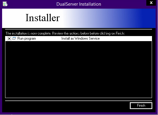 I install DualServer and copy and overwrite the config file from labs folder to the install location of DualServer