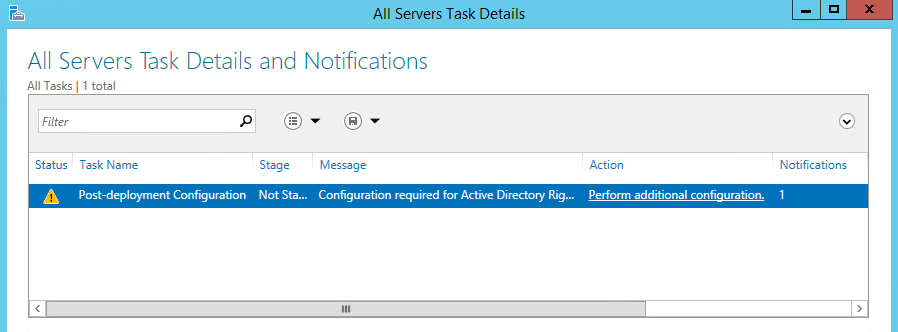 I go on to install the AD RMS component in the server manager.