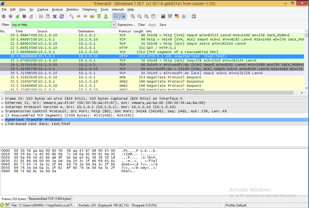 I fire up IE and navigate to server.classroom.local, log in and inspect the following Wireshark report to see that the password and username is openly available through the unencrypted http protocol.