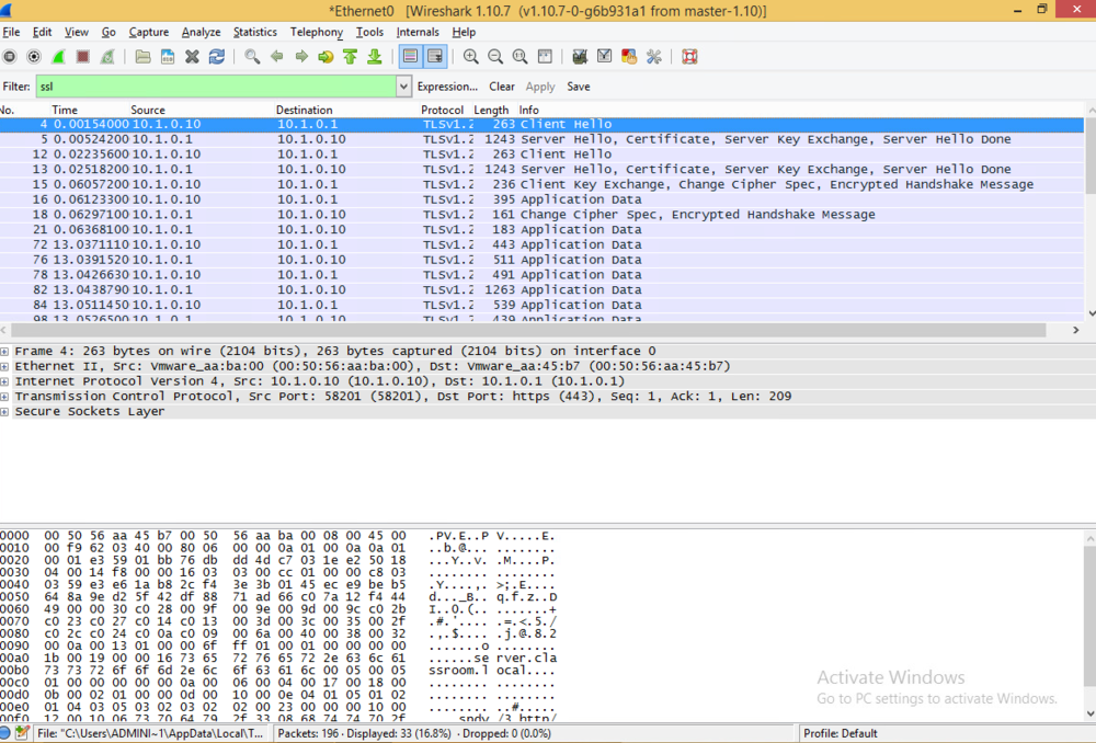 Now logged in, I take a look at the newly created Wireshark report. Sorting by SSL, I can see that there is no information exposed anymore.