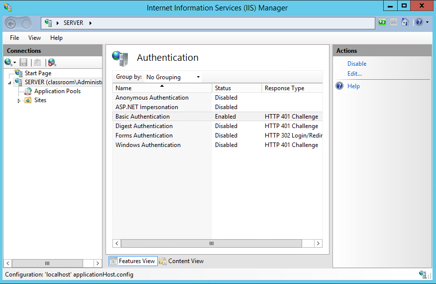 Step one! Turn off anonymous authentication, and on with basic authentication. This is done in the IIS tools found in server manager