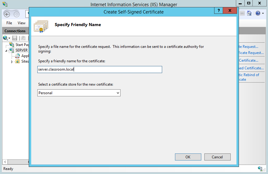 I want my info secured! I head back to the config panels of the server manager and IISto create a self.signed certificate