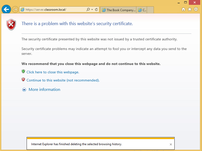 prefixing an s to the http and we get the above message where I ignore the warning and continiue to the webpage