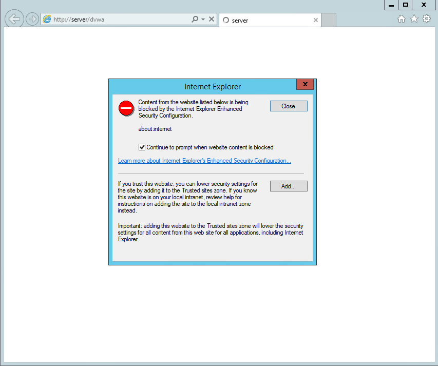 And register the server website as a secure site, following the IE wizard once i visit the site.