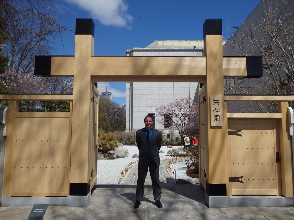 Chris in front of the newly installed Tenshin-en gate at the Museum of Fine Arts in Boston.