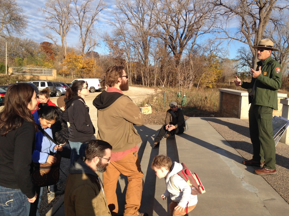 Park RangerAlan Robbins-Fenger gives the Collaboratory Cohort a tour of Coldwater Spring