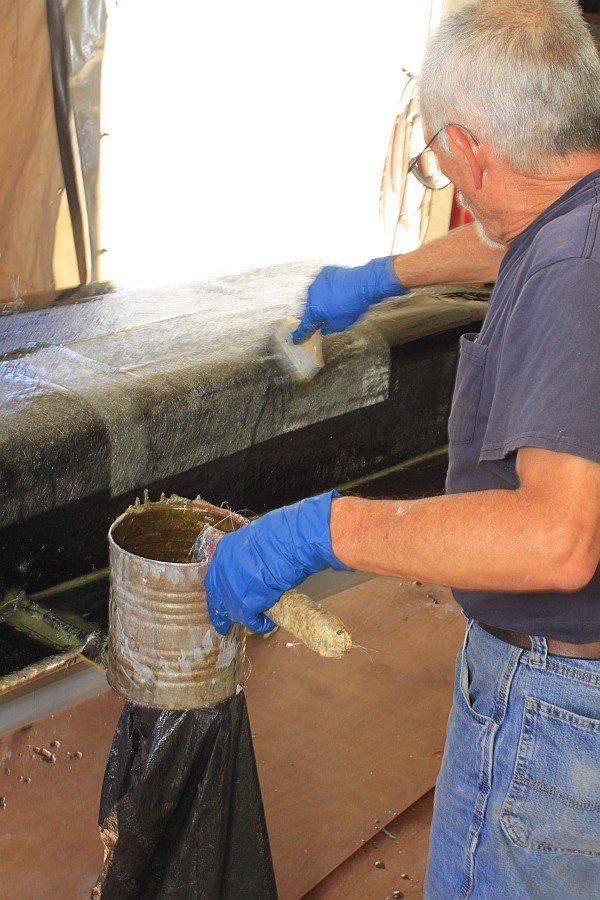 2012-08-27 13 body tooling 1st layup 1 ounce fiberglass mat.jpg