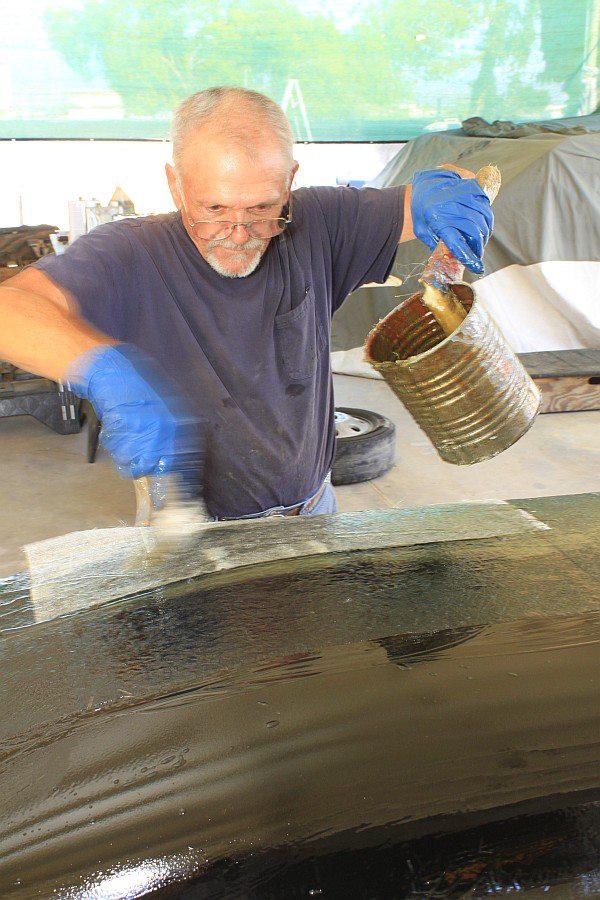 2012-08-27 15 body tooling 1st layup 1 ounce fiberglass mat.jpg