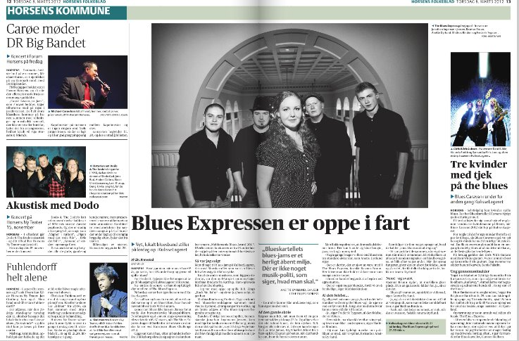 Artikel om The Blues Express i Horsens Folkeblad
