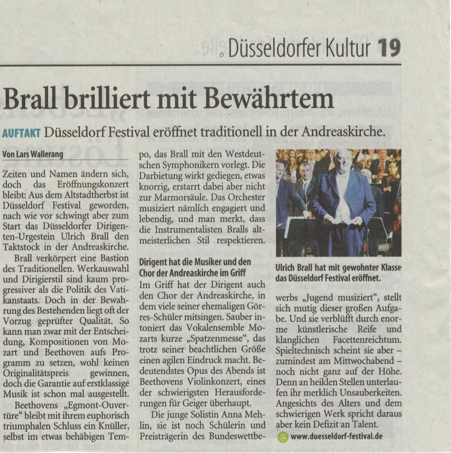 Westdeutsche Zeitung vom 14.09.2012