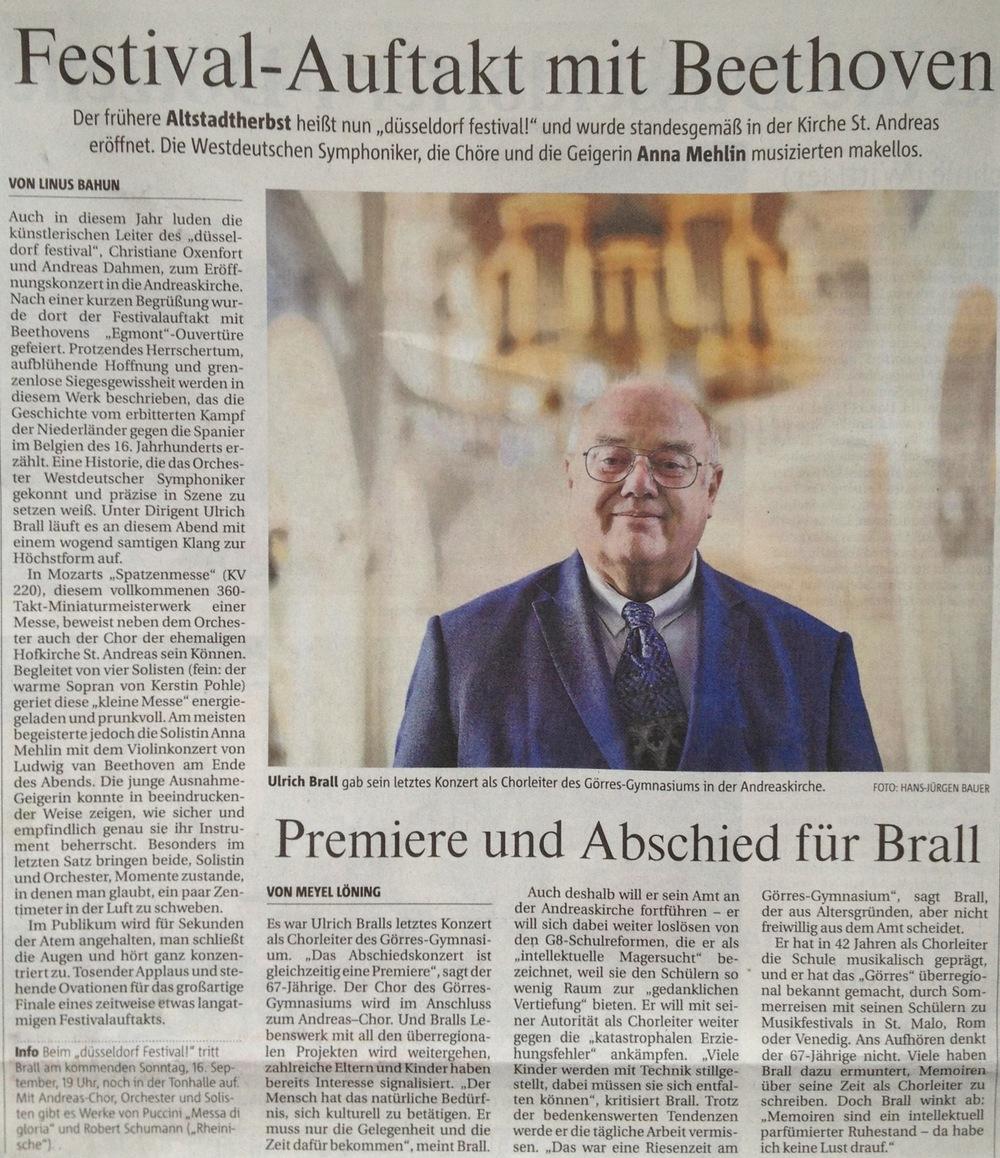Rheinische Post  vom 14. September 2012 ( Premiere und Abschied)