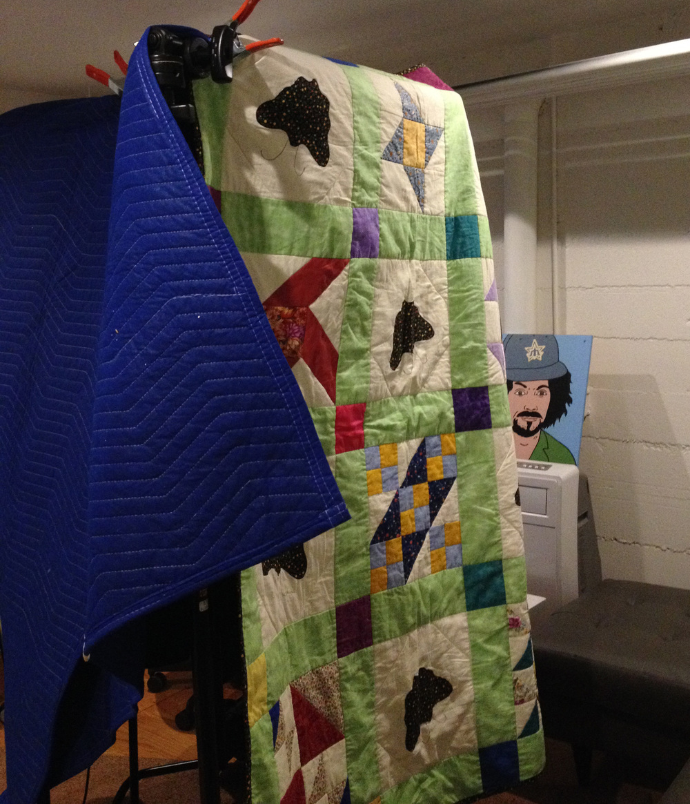 A quilt from my Uncle Steve, added a level of home-ness to the sound recording sessions.