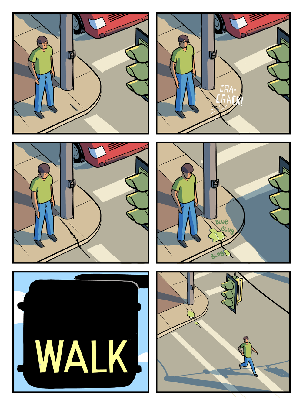 """Oh, It's the End of the World"" Page 9 by Matthew Bogart  While Neil waits at a crosswalk a green ooze splits open a crack in the sidewalk."