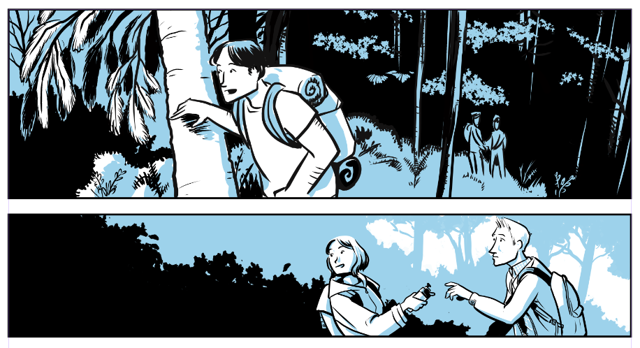 Panels from the comic I'm working on.  Tyler Crook has it right.